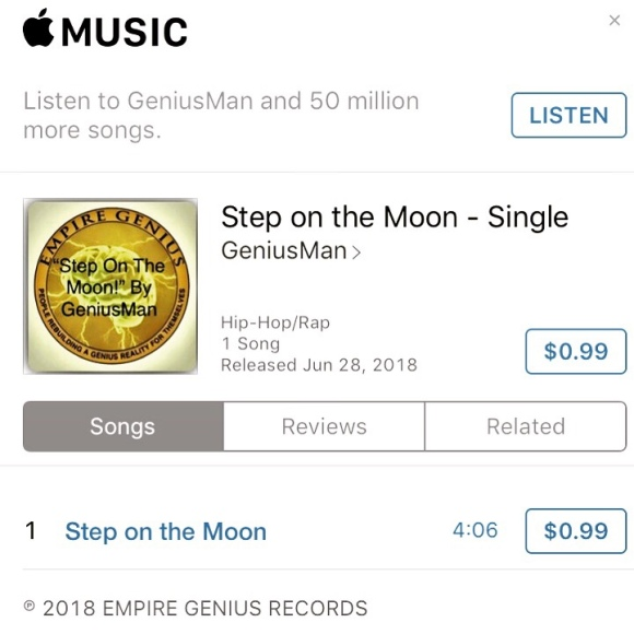 """Step Om The Moon By GeniusMan"" @iTunes"