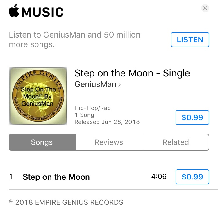 """""""Step On The Moon"""" By GeniusMan @iTunes"""